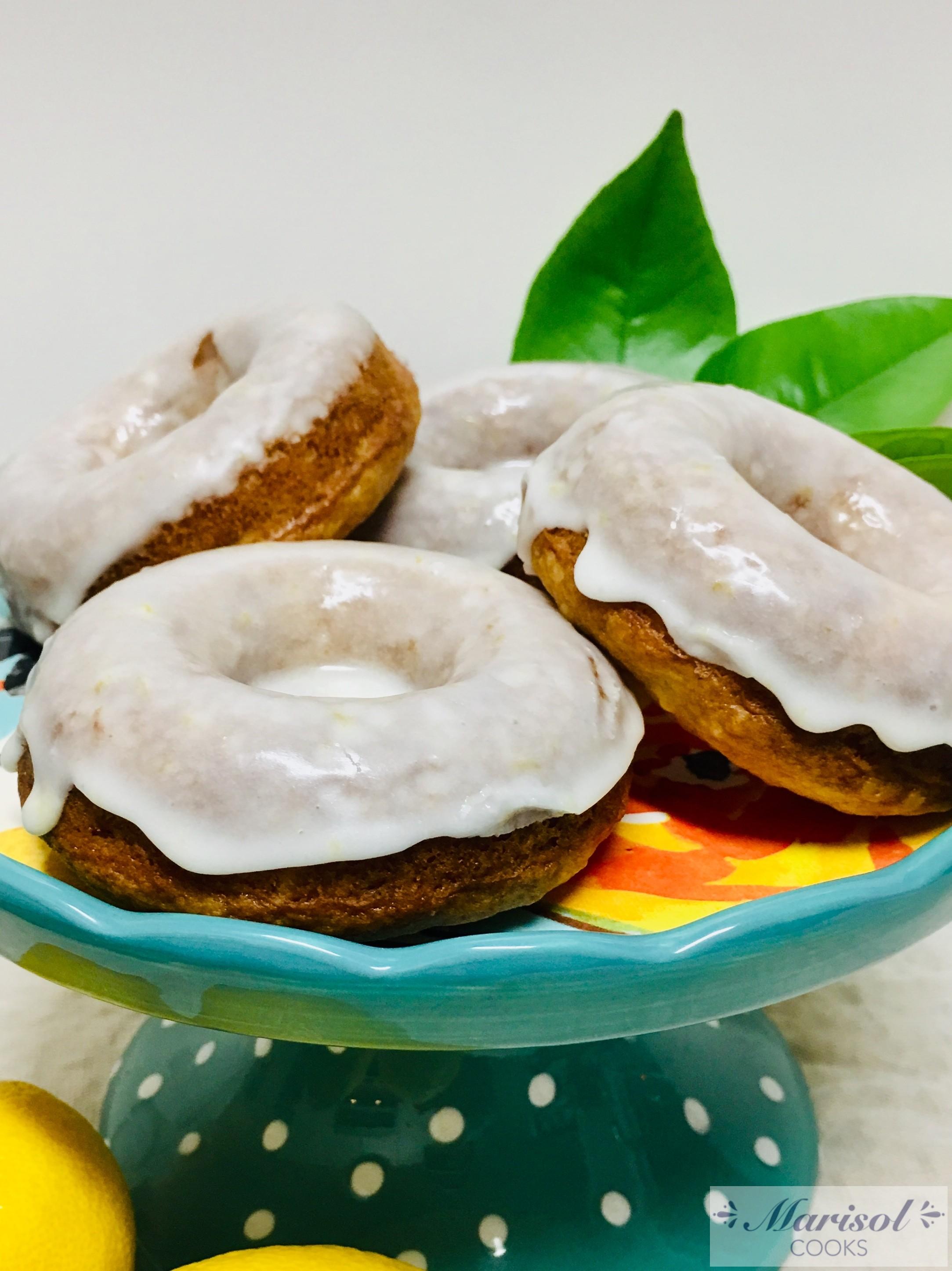 Lemon glazed sour cream baked donuts.