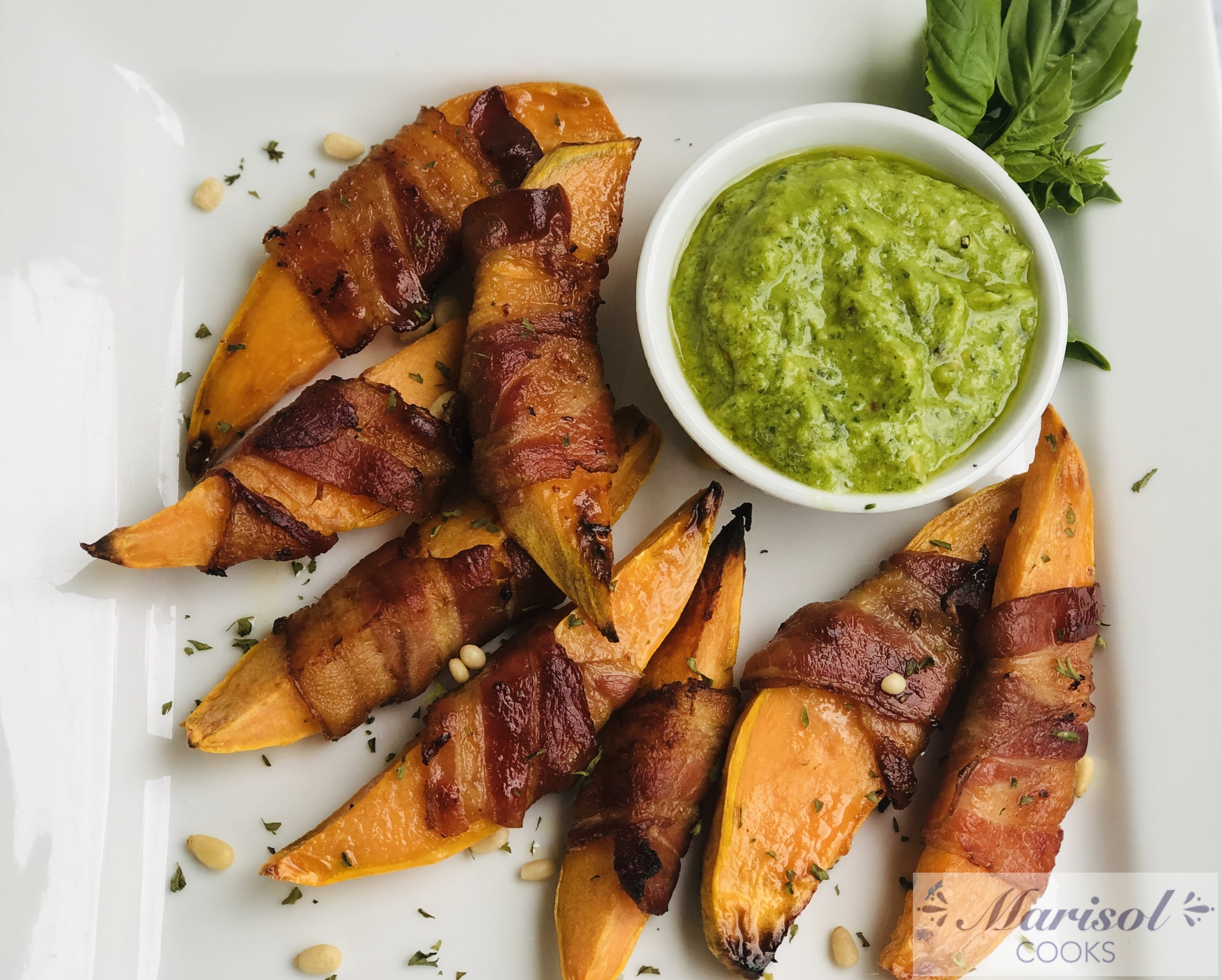 Bacon Wrapped Sweet Potato Wedges.