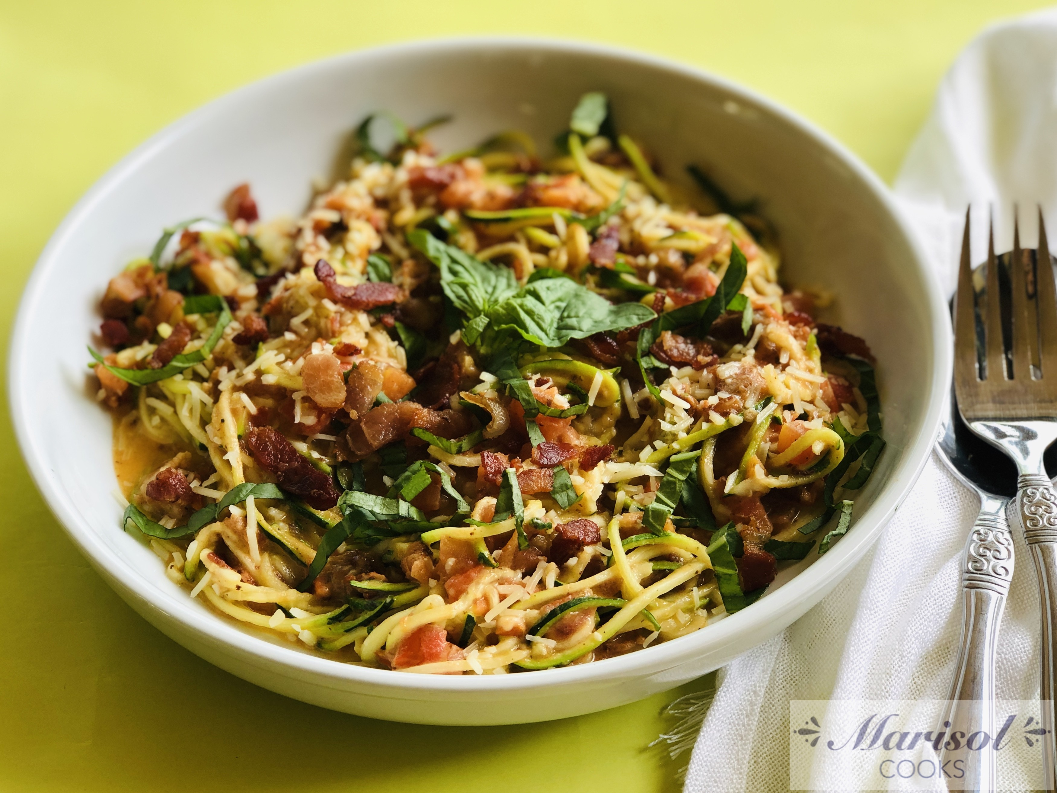 Zoodles with Creamy Tomato sauce and Bacon.