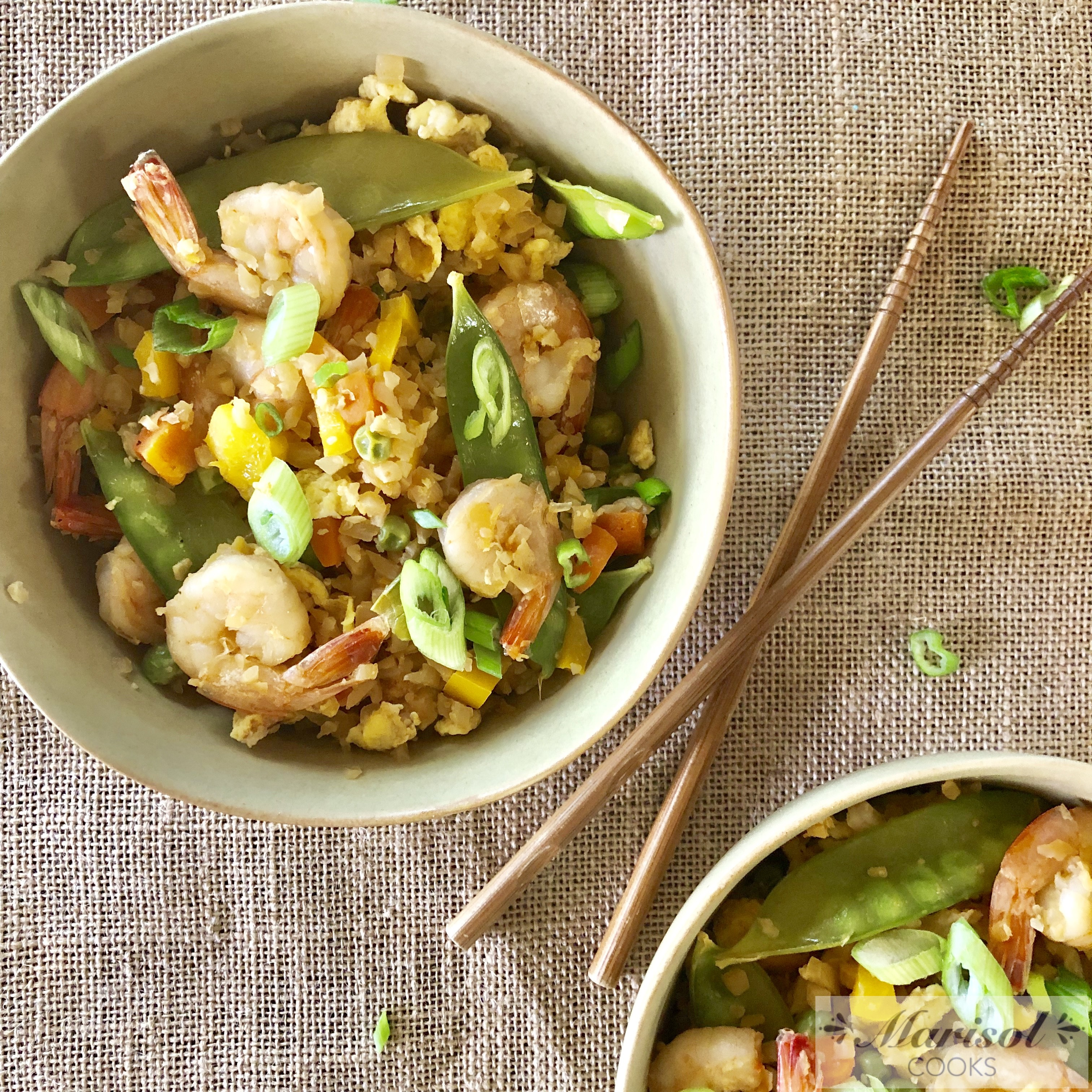 Cauliflower Fried Rice with Shrimp.
