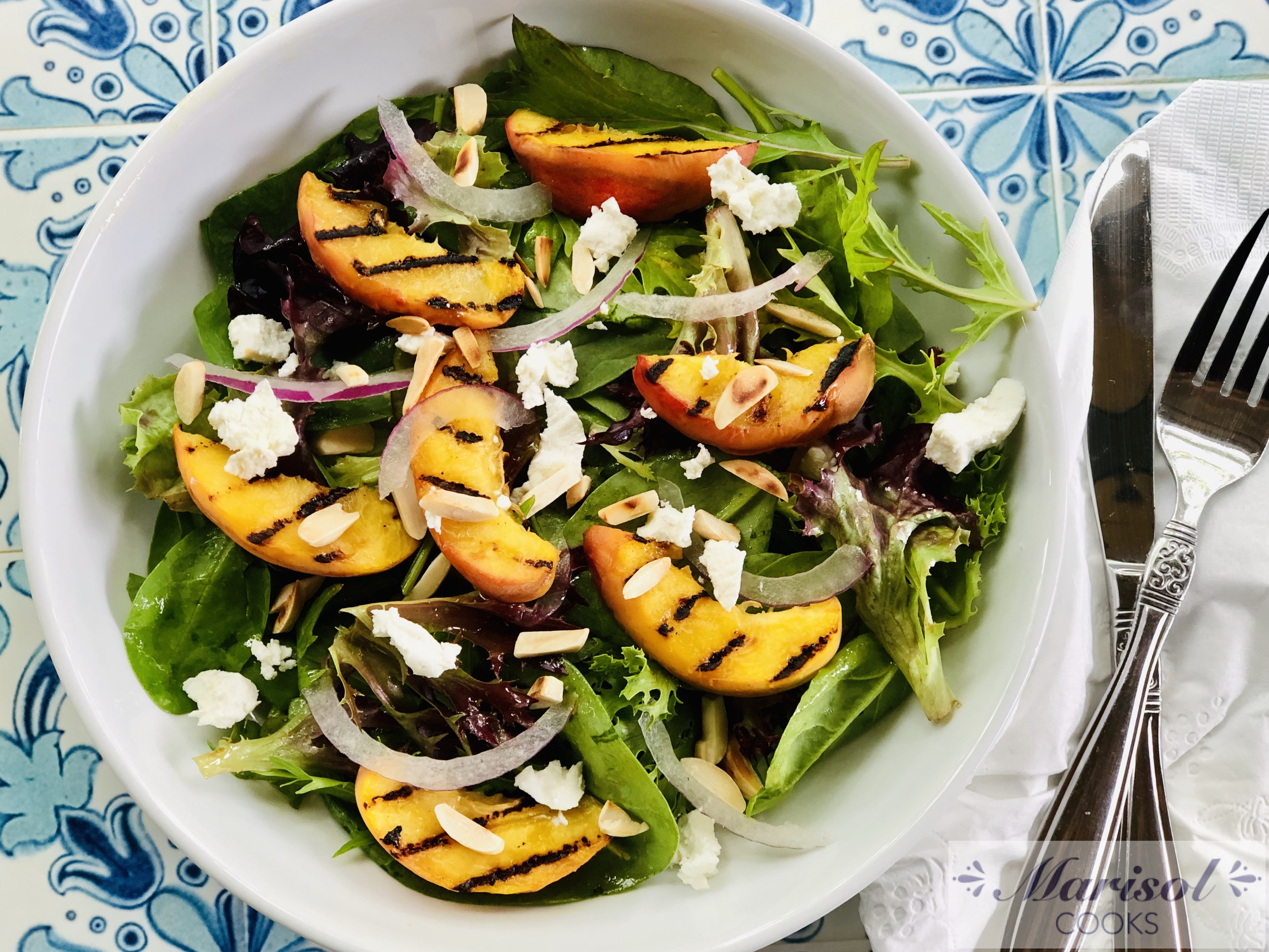 Grilled Peach and Goat Cheese Salad.