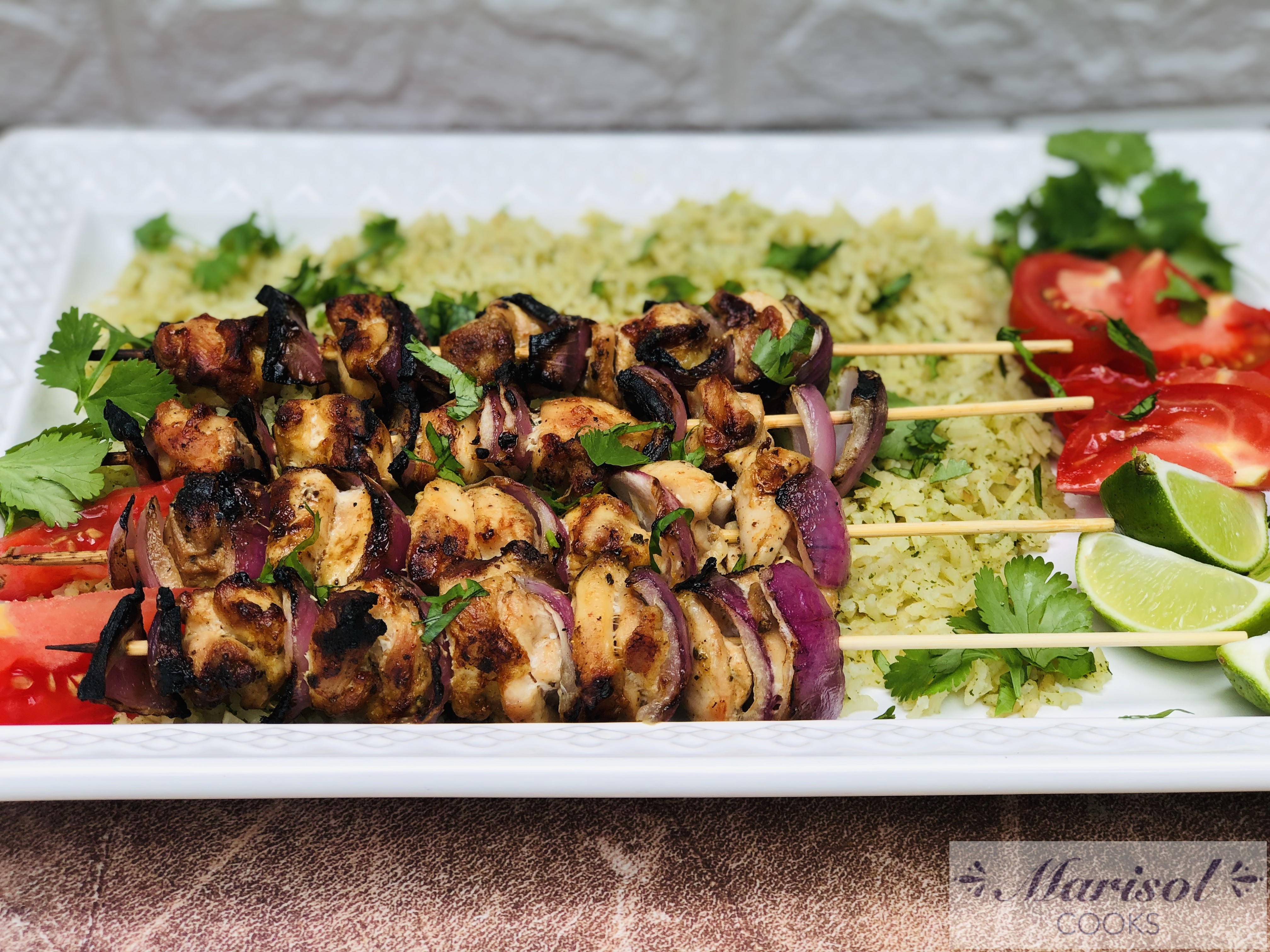 Grilled Chicken Skewers and Cilantro rice.