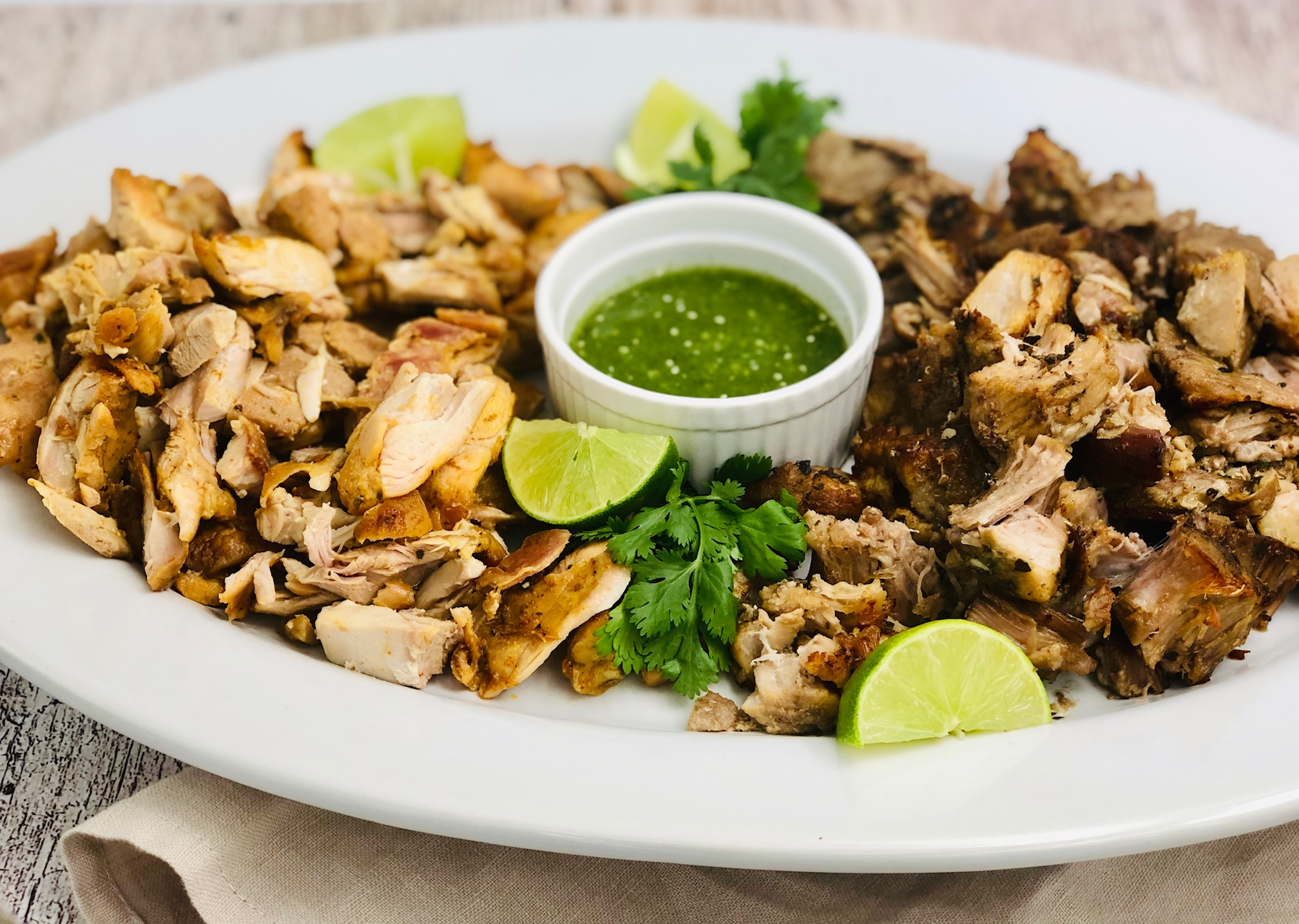 Grilled Chicken and Pork Carnitas Platter