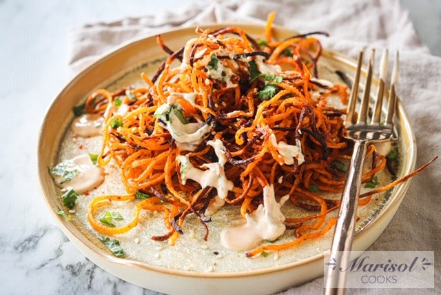 Crispy Butternut Squash strings with Chipotle dressing