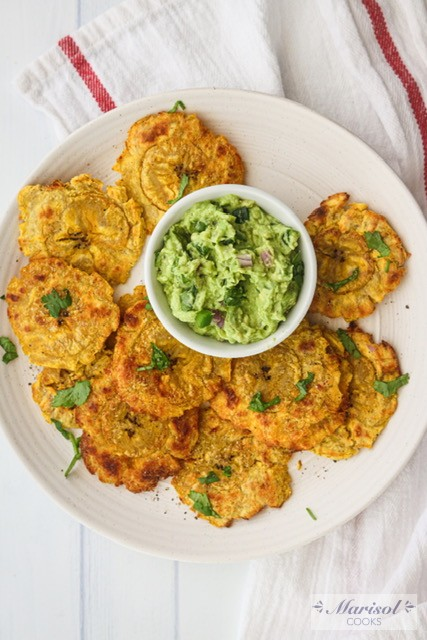 Baked Tostones and Guacamole