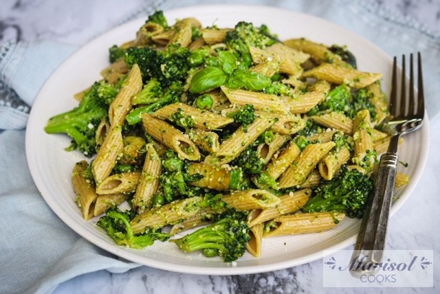 Penne with Sautee Veggies and Pesto