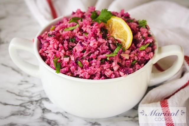 Cauliflower and Red Cabbage Rice