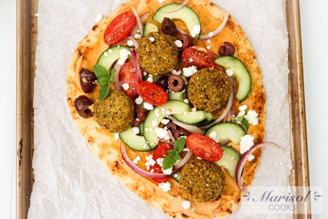 Greek Salad and Falafel Naan