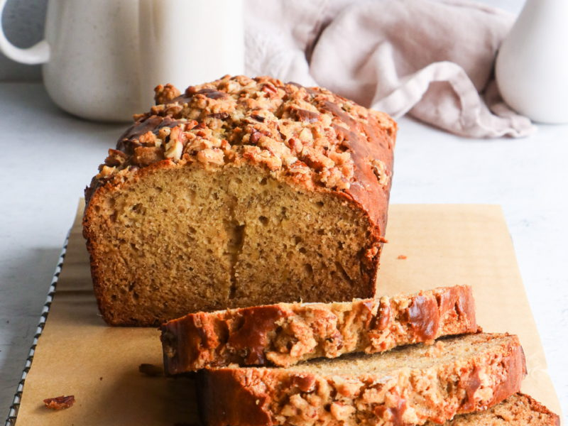 Banana Bread with Pecan Streusel