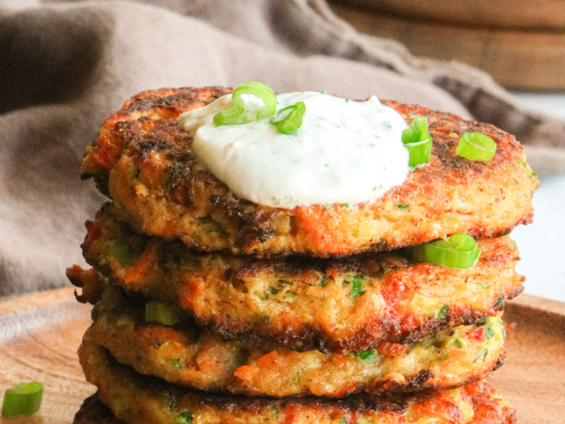 Vegetable Fritter with Yogurt Dill Dip