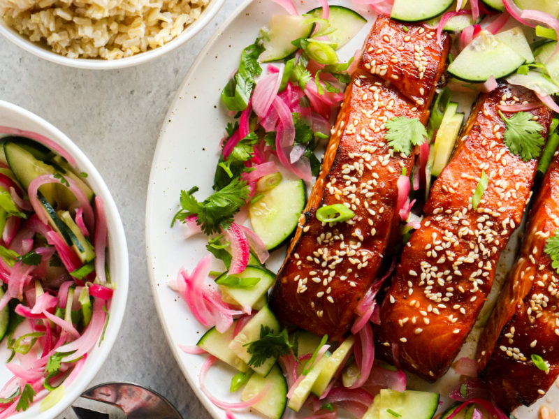 Sweet Chili Salmon with Easy Cucumber Salad