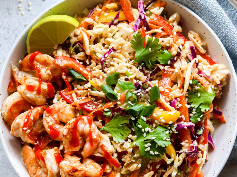 Spicy shrimp and brown rice salad